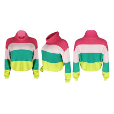 Color Splice Turtleneck Full Sleeve Knitted Sweater YIS-931