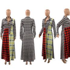 Long Sleeve Patchwork Plaid Print Dress SZF-6031