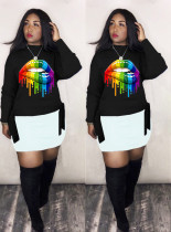 Casual Lip Print Long Sleeve O Neck Sweatshirt LM-8206