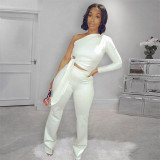 Solid Color Single Sleeve Top And Pants Two Piece Set SZF-6032