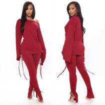 Solid Long Sleeve Lace Up Two Piece Pants Set LSL-6394