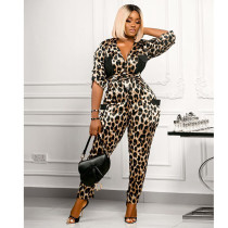 Fashion Leopard Print Shirt Collar Jumpsuit SZF-6034
