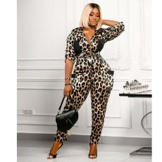 Fashion Leopard Print Shirt Collar Jumpsuit SZF-6034