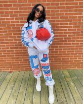 Plus Size Casual Printed Hoodies Pants 2 Piece Sets CQ-081