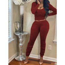 Sexy Long Sleeve Stacked Pants Two Piece Sets BN-9256