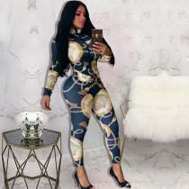 Chain Print Fashion Casual Long Sleeve Pants Two Piece Set XSF-6011