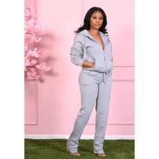 Solid Plush Hooded Zipper Two Piece Pants Set CM-792