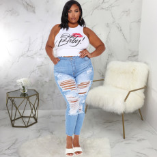 Plus Size 5XL Denim Ripped Skinny Jeans Pencil Pants HSF-2332