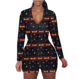 Casual Printed Long Sleeve One Piece Romper SHD-9449
