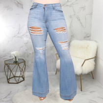 Plus Size 5XL Fat MM Denim Ripped Hole Flared Jeans HSF-2342
