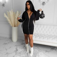 Casual Hooded Zipper Long Sleeve Mini Dress DSF-6048
