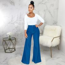 Plus Size Denim High Waist Wide Lge Jeans Pants HSF-2355