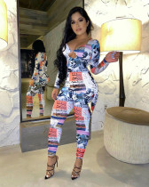 Sexy Long Sleeve Print Hollow Out Jumpsuit XSF-6017