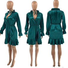 Sexy Elegant Green Long Sleeve Dress SZF-6014