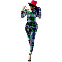 Fashion Sexy Long Sleeve Plaid Jumpsuit SZF-6013