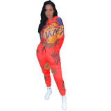 Sports Casual Printed Long Sleeve Pants Two Piece Set XSF-6006