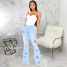 Plus Size Denim Butterfly Embroidery Ripped Flared Jeans HSF-2334
