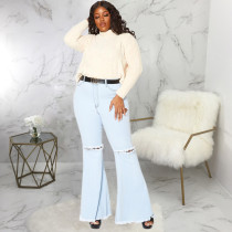 Plus Size 5XL Fat MM Denim Hole Flared Jeans Without Belt HSF-2343