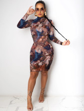 Plus Size 4XL Sexy Printed Long Sleeve Bodycon Dress OM-1181