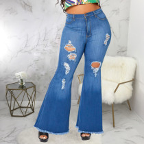 Plus Size 5XL Fat MM Denim Ripped Hole Flared Jeans HSF-2341