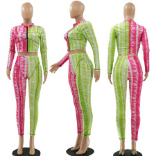 Printed Two-color Stitching Fashion Casual Set LSF-9041