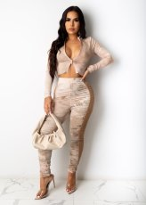 Tie Dye Long Sleeve Ruched Pants Two Piece Sets PIN-8538