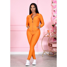 Solid Long Sleeve Zipper Two Piece Sets CM-799