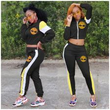 Plus Size Spliced Contrast Color Sports Coat And Pants Two Piece Set LSF-9007