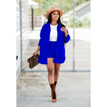 Solid Full Sleeve Coat And Shorts Two Piece Sets BS-1236