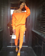 Solid Color Fashion Casual Long Sleeve Pants Two Piece Set LSF-9021