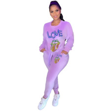 Fashion Casual Printed Long Sleeve Trousers Two Piece Set LSF-9015