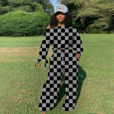 Casual Plaid Printed Long Sleeve Knotted Top And Pants Two Piece Set LSF-9031