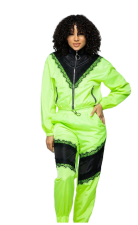 Casual Sports Splice Coat Top And Pants Two Piece Set LSF-9024