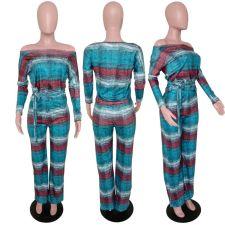 Sexy Striped Slash Neck Long Sleeve 2 Piece Sets FST-7149