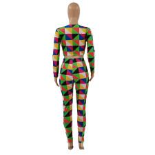 Fashion Plaid Print Casual Two Piece Set LSF-9017