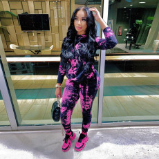 Fashion Tie-dye Hooded Top And Pants Two Piece Set YD-8319