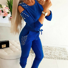 Plus Dize Solid Beading Long Sleeve Two Piece Sets FENF-013
