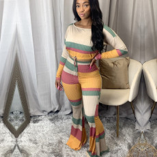 Casual Ribbed Long Sleeve Flared Pants 2 Piece Sets FENF-029