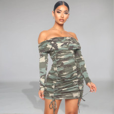 Sexy Camo Print Slash Neck Ruched Mini Dress FENF-019