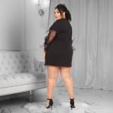 Plus Size 5XL Letter Print Mesh Patchwork Mini Dress FENF-015