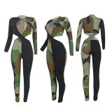 Sexy Camo Patchwork Hollow Skinny Jumpsuit FENF-022