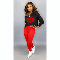 Lip Print Casual Long Sleeve Pants Two Piece Set WXF-7038