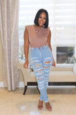 Casual Denim Ripped Hole Jeans Pants FENF-018