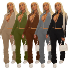 Solid Zipper Long Sleeve Stacked Pants 2 Piece Sets OJS-9256