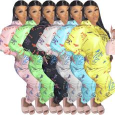 Plus Size Printed Hoodie Pants Two Piece Sets OJS-9253
