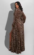 Sexy Leopard High Waist V Neck Sashes Split Maxi Dress SFY-188