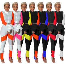 Contrast Color Long Sleeve Stacked Pants 2 Piece Sets OJS-9258