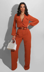 Casual Loose Solid Long Sleeve Jumpsuit Without Belt SFY-190