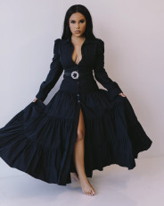 Casual Long Sleeve Big Swing Maxi Dress Without Belt SFY-184