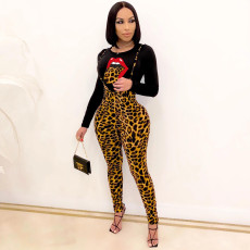 Leopard Tongue Print Tops+Suspenders Pants 2 Piece Sets MYP-8951